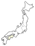Map of Japan, Shikoku highlighted