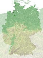 Bremen - topografische Relief Karte Deutschland