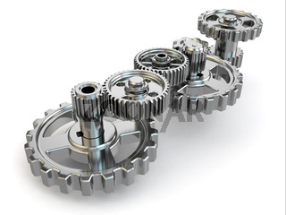 Perpetuum mobile. Iron gears on white isolated background.