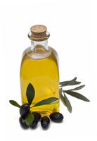 Fresh oil, leaves and olives.