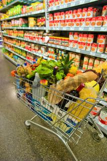 Einkaufswagen in einem Supermarkt