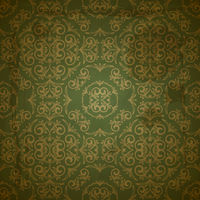 vector seamless golden pattern on green grungy background with crumpled paper texture