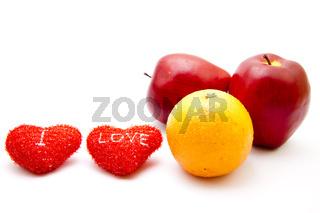 Rote Herzen mit Orange