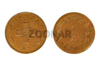 Malta monetary unit one cent.Isolated.