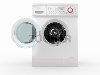 Open washing machine on white  background. 3d