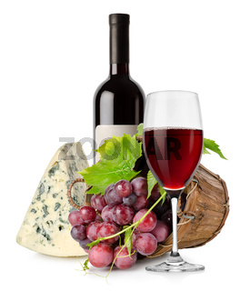 Wine cheese and grape in basket