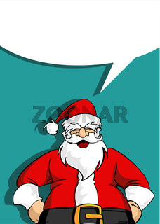 Santa greeting card with blank social bubble