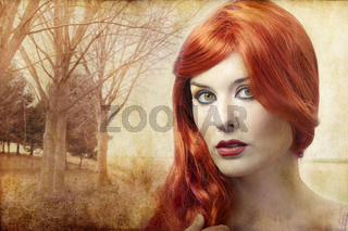 beautiful redheaded woman on a background of forest, Renaissance
