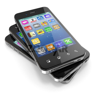 Set of mobile phones with touchscreen. 3d