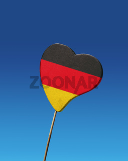 Heart with germany, s flag against the sky