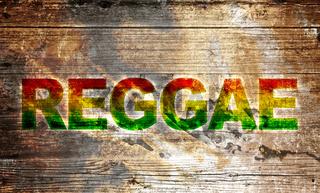 Altes Holzbrett - Reggae Schriftzug