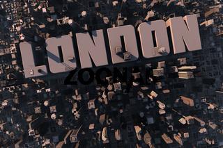 Luftansicht einer Stadt in 3D mit Schriftzug London