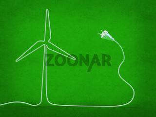 Electric cord shaped like a windmill