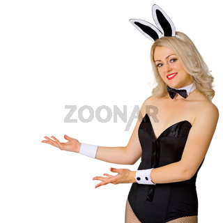Smiling blonde woman in costume of rabbit