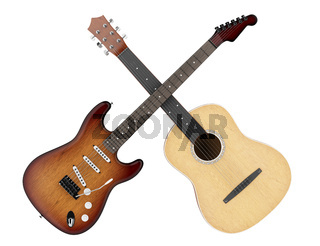 two acoustic and electric guitars isolated on white background