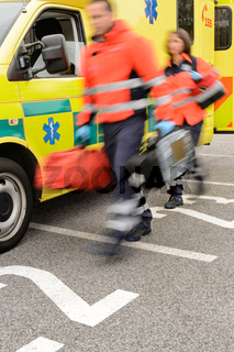 Rushing blurry paramedic unit portable devices truck