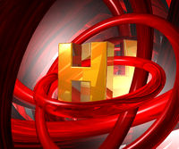 buchstabe h und rote ringe - 3d illustration