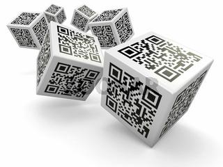 Lottery. Qr code cubes as dice. 3d
