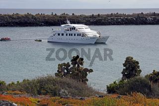 Kreuzfahrtschiff vor der  Insel Plaza Sur, Galapagos, Unesco Wel