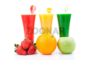 fruits placed in front of full glasses