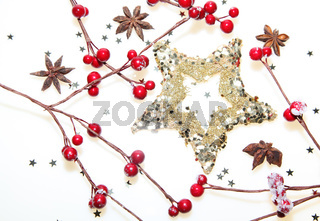 Christmas decoration stars with red berrys and anis