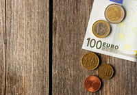 Euro money over wooden background