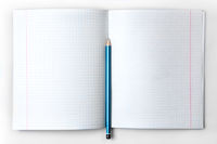 open empty notebook with lined pages and pencil