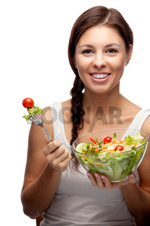 healthy woman with salad