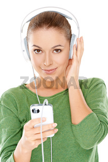 Young woman listening to her music