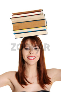 Young woman (student) with books
