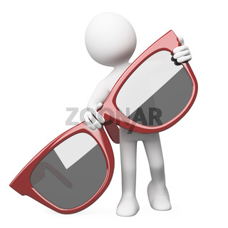 Man posing with a huge red sunglasses