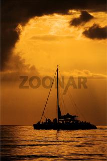 boat sunset yellow