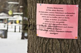 baumpatenschaft, parkschuetzer, schlossgarten stuttgart, godparenthood for trees in the schlossgarten, stuttgart, germany