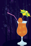 Vector illustration of a cocktail decorated with umbrella toothpick on night disco background
