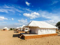 Luxury tents in desert. Jaisalmer