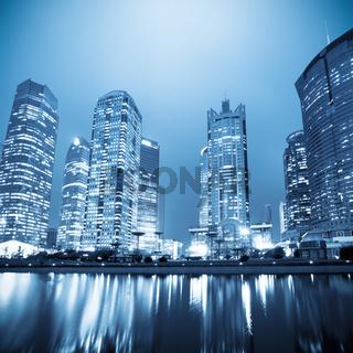night scene of the lujiazui financial centre