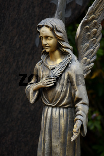 Friedhofsengel aus Bronze mit Palmzweig