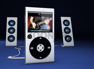 MP3 player and speakers