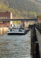 Locks on river Neckar by Hirschhorn Hesse Germany