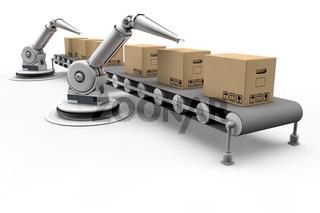 Gelenkarmroboter am Montageband
