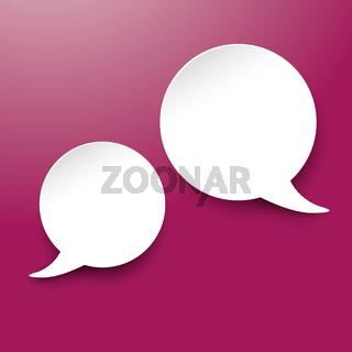 Two White Communication Speech Bubble Purple Labels