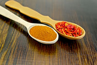Peppers red powder and flakes in wooden spoons