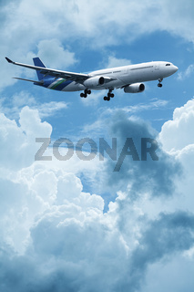 Jet plane above the clouds. Vertical composition.