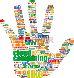 cloud computing tag cloud hand isolated on a white background
