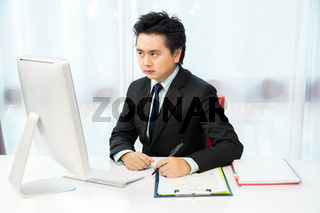 businessman working with desktop