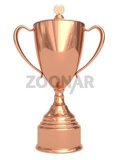 Bronze trophy cup on white background. High resolution 3D image