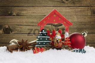Weihnachtsdekoration mit Holzhintergrund