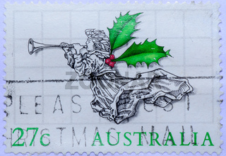 AUSTRALIA stamp shows Angel with green leaf win