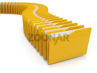 Row of computer yellow folders on white background. 3d