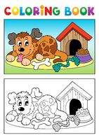 Coloring book dog theme 3 - picture illustration.